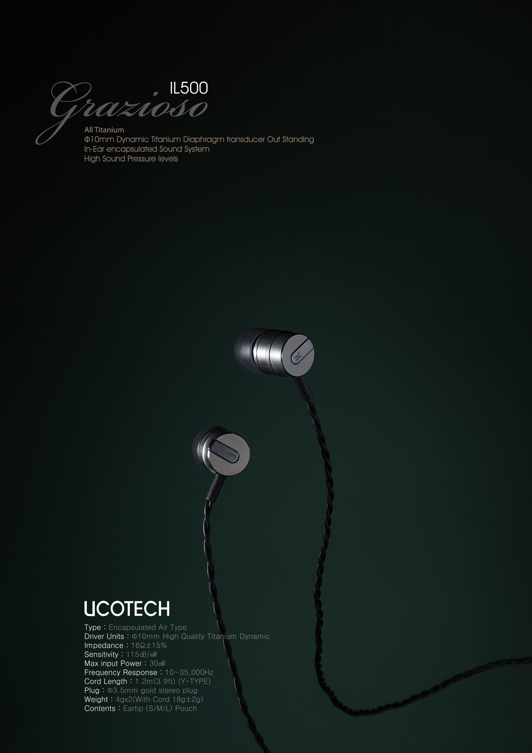 カナル型チタンイヤフォン UCOTECH UCT-IL500grazioso